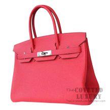 Hermes Birkin 30 Bag R2 Rouge Pivoine Togo SHW
