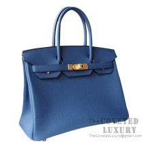 Hermes Birkin 30 Bag S7 Blue De Galice Togo GHW
