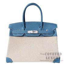 Hermes Birkin 30 Bag 89 Noir And CC75 Blue Jean Togo And Canvas SHW