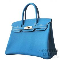 Hermes Birkin 30 Bag CC75 Blue Jean Togo GHW