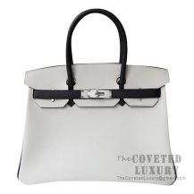 Hermes Birkin 30 Bag 01 Blanc And 89 Noir Togo SHW