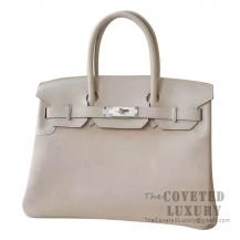 Hermes Birkin 30 Bag 4B Biscuit Grizzly And Swift SHW