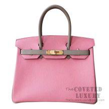 Hermes Birkin 30 Bag 1Q Rose Confetti And CC81 Gris Tourterelle Chevere GHW