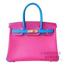 Hermes Birkin 30 Bag 5R Fuschia Pink And L3 Rose Purple And B3 Blue Zanzibar Chevere GHW