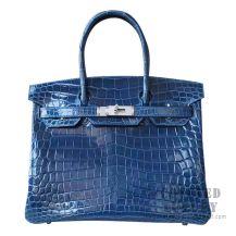 Hermes Birkin 30 Handbag 1P Blue Ocean Shiny Niloticus SHW