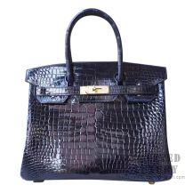 Hermes Birkin 30 Handbag 7K Blue Abysse Shiny Porosus Croc GHW