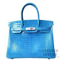 Hermes Birkin 30 Handbag 7W Blue Izmir Shiny Porosus Croc SHW