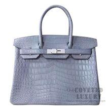 Hermes Birkin 30 Handbag 8M Gris Paris Matte Niloticus SHW