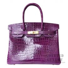 Hermes Birkin 30 Handbag 9G Amethyste Shiny Porosus Croc GHW