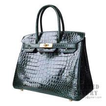 Hermes Birkin 30 Handbag CK67 Vert Fonce Shiny Porosus Croc GHW