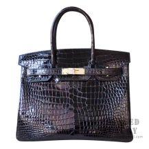 Hermes Birkin 30 Handbag 89 Noir Shiny Porosus Croc GHW