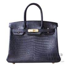 Hermes Birkin 30 Handbag 89 Noir Matte Porosus Croc GHW