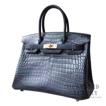 Hermes Birkin 30 Handbag 89 Noir Matte Niloticus GHW