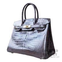 Hermes Birkin 30 Handbag CC88 Graphite Shiny Porosus Croc GHW