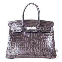 Hermes Birkin 30 Handbag CC88 Graphite Shiny Porosus Croc SHW