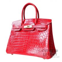 Hermes Birkin 30 Handbag CC95 Braise Shiny Niloticus GHW