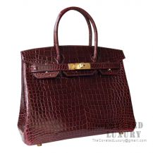 Hermes Birkin 30 Handbag CK57 Bordeaux Shiny Porosus Croc GHW