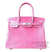 Hermes Birkin 30 Handbag E5 Rose Tyrien Shiny Porosus Croc SHW