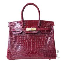 Hermes Birkin 30 Handbag F5 Bourgogne Shiny Porosus Croc GHW