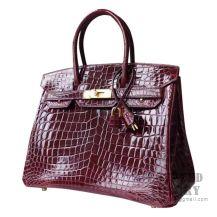 Hermes Birkin 30 Handbag F5 Bourgogne Shiny Niloticus GHW
