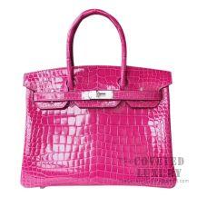 Hermes Birkin 30 Handbag J5 Rose Scheherazade Shiny Niloticus SHW