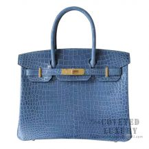 Hermes Birkin 30 Handbag N7 Blue Tempete Shiny Porosus Croc GHW
