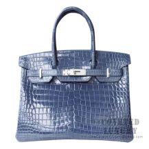 Hermes Birkin 30 Handbag N7 Blue Tempete Shiny Porosus Croc SHW