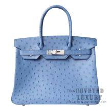 Hermes Birkin 30 Handbag 7C Cabalt Ostrich SHW