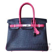 Hermes Birkin 30 Handbag 89 Noir And Fuschia Pink Ostrich SHW