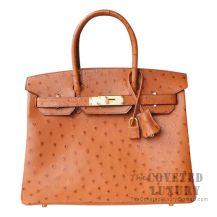 Hermes Birkin 30 Handbag CC37 Gold Ostrich GHW