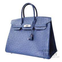 Hermes Birkin 30 Handbag CC73 Blue Saphir Ostrich SHW