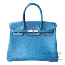 Hermes Birkin 30 Handbag CC75 Blue Jean Ostrich SHW