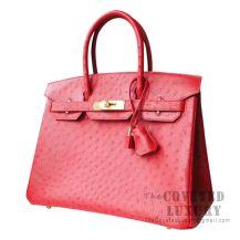 Hermes Birkin 30 Handbag CC53 Rouge Vif Ostrich GHW