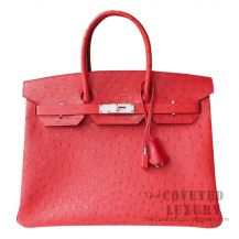 Hermes Birkin 30 Handbag CC53 Rouge Vif Ostrich SHW