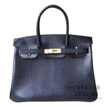 Hermes Birkin 30 Handbag 89 Noir Lizard GHW