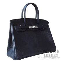 Hermes Birkin 30 Handbag 89 Noir Lizard SHW