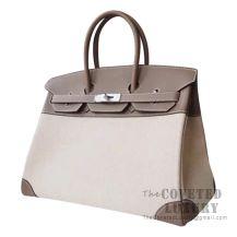 Hermes Birkin 35 Bag CK18 Etoupe Swift And Canvas SHW