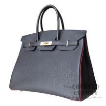 Hermes Birkin 35 Bag 89 Noir And K1 Rouge Grenat Togo GHW