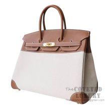 Hermes Birkin 35 Bag CC37 Gold Togo And Canvas GHW