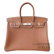 Hermes Birkin 35 Bag CK37 Gold Togo SHW