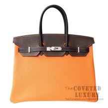 Hermes Birkin 35 Bag CK93 Orange And 89 Noir And 4A Cafe Togo SHW
