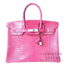 Hermes Birkin 35 Bag 5J Fuschia Pink Shiny Porosus Croc Diamond HW