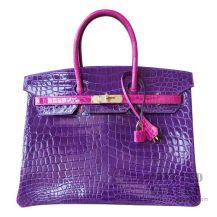 Hermes Birkin 35 Bag 5L Ultraviole And J5 Scheherazade Shiny Niloticus GHW