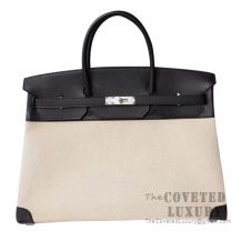 Hermes Birkin 40 Bag 89 Noir Epsom And Canvas SHW