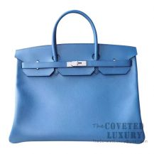 Hermes Birkin 40 Bag R2 Blue Agate Evercolor SHW