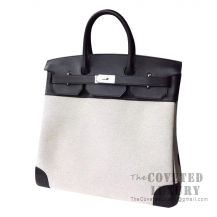 Hermes Birkin 40 Bag 89 Noir Swift And Canvas SHW