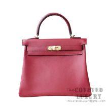 Hermes Kelly 25 Handbag K1 Rouge Grenat Swift GHW
