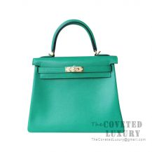Hermes Kelly 25 Handbag U4 Vert Vertigo Swift GHW