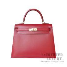 Hermes Kelly 25 Handbag B5 Ruby Tadelakt GHW