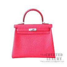 Hermes Kelly 25 Handbag T5 Rose Jaipur Clemence SHW